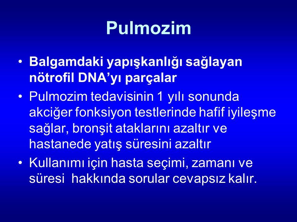 Pulmozim Balgamdaki yapışkanlığı sağlayan nötrofil DNA'yı parçalar Pulmozim tedavisinin 1 yılı sonunda akciğer fonksiyon testlerinde hafif iyileşme sa
