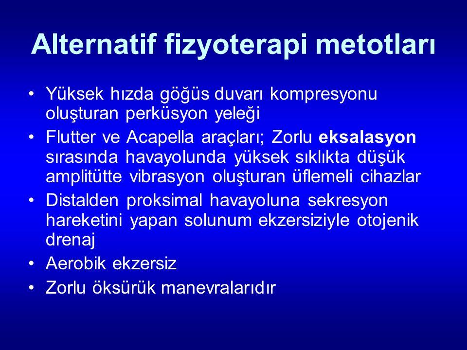 Alternatif fizyoterapi metotları Yüksek hızda göğüs duvarı kompresyonu oluşturan perküsyon yeleği Flutter ve Acapella araçları; Zorlu eksalasyon sıras