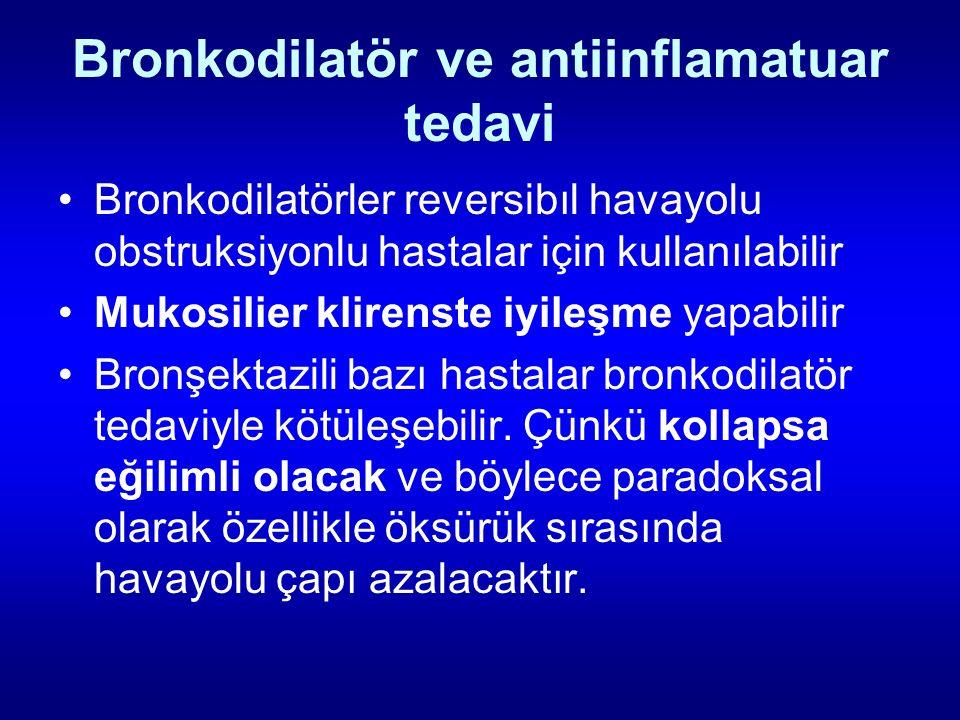 Bronkodilatör ve antiinflamatuar tedavi Bronkodilatörler reversibıl havayolu obstruksiyonlu hastalar için kullanılabilir Mukosilier klirenste iyileşme