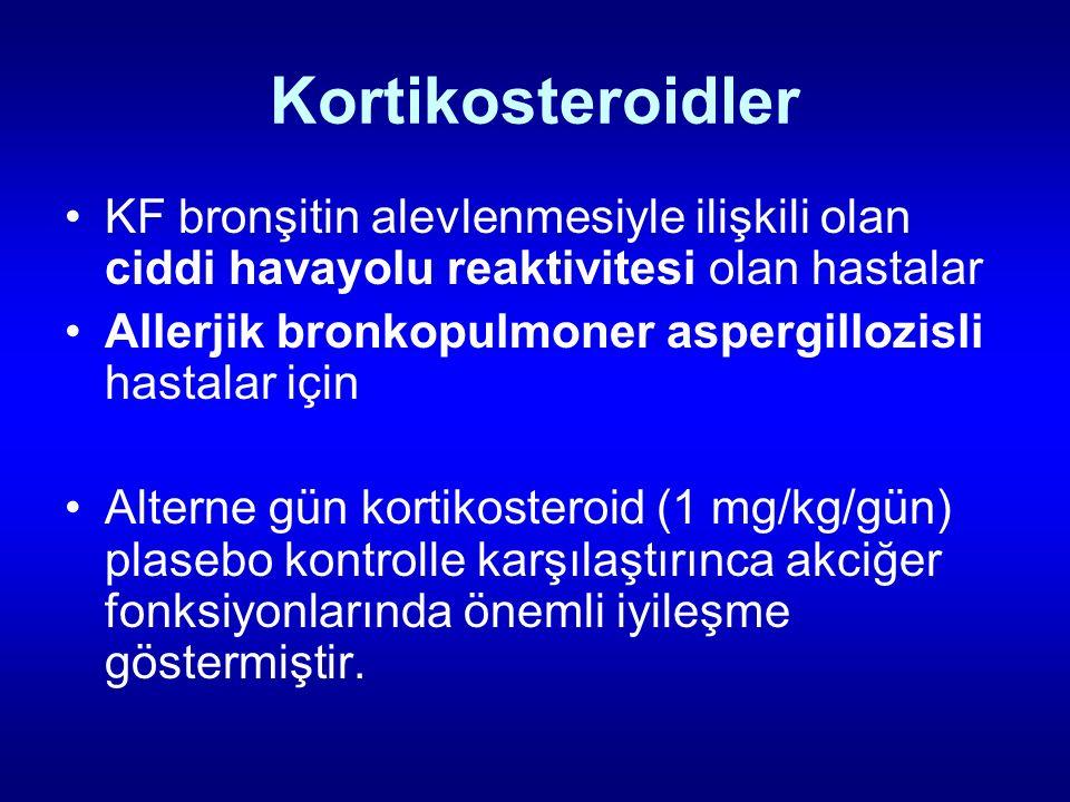 Kortikosteroidler KF bronşitin alevlenmesiyle ilişkili olan ciddi havayolu reaktivitesi olan hastalar Allerjik bronkopulmoner aspergillozisli hastalar