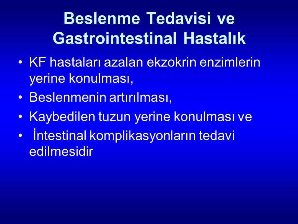 Beslenme Tedavisi ve Gastrointestinal Hastalık KF hastaları azalan ekzokrin enzimlerin yerine konulması, Beslenmenin artırılması, Kaybedilen tuzun yer
