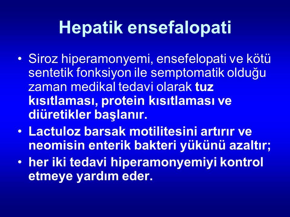 Hepatik ensefalopati Siroz hiperamonyemi, ensefelopati ve kötü sentetik fonksiyon ile semptomatik olduğu zaman medikal tedavi olarak tuz kısıtlaması,