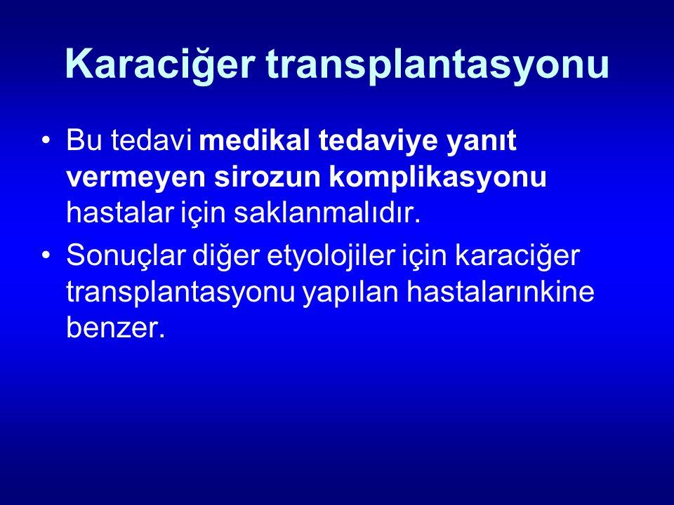 Karaciğer transplantasyonu Bu tedavi medikal tedaviye yanıt vermeyen sirozun komplikasyonu hastalar için saklanmalıdır. Sonuçlar diğer etyolojiler içi