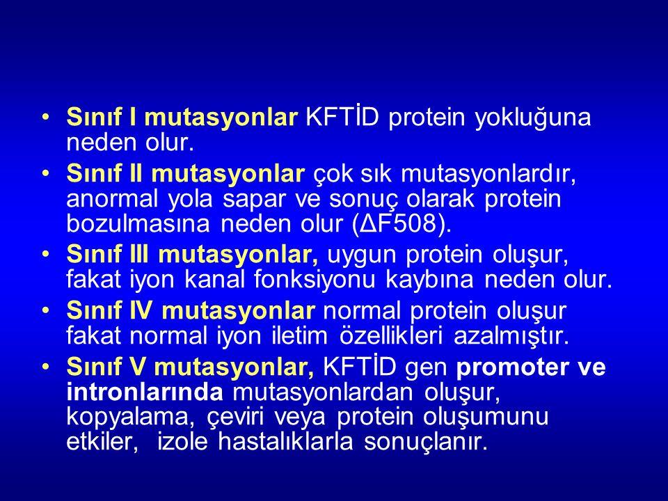Sınıf I mutasyonlar KFTİD protein yokluğuna neden olur. Sınıf II mutasyonlar çok sık mutasyonlardır, anormal yola sapar ve sonuç olarak protein bozulm