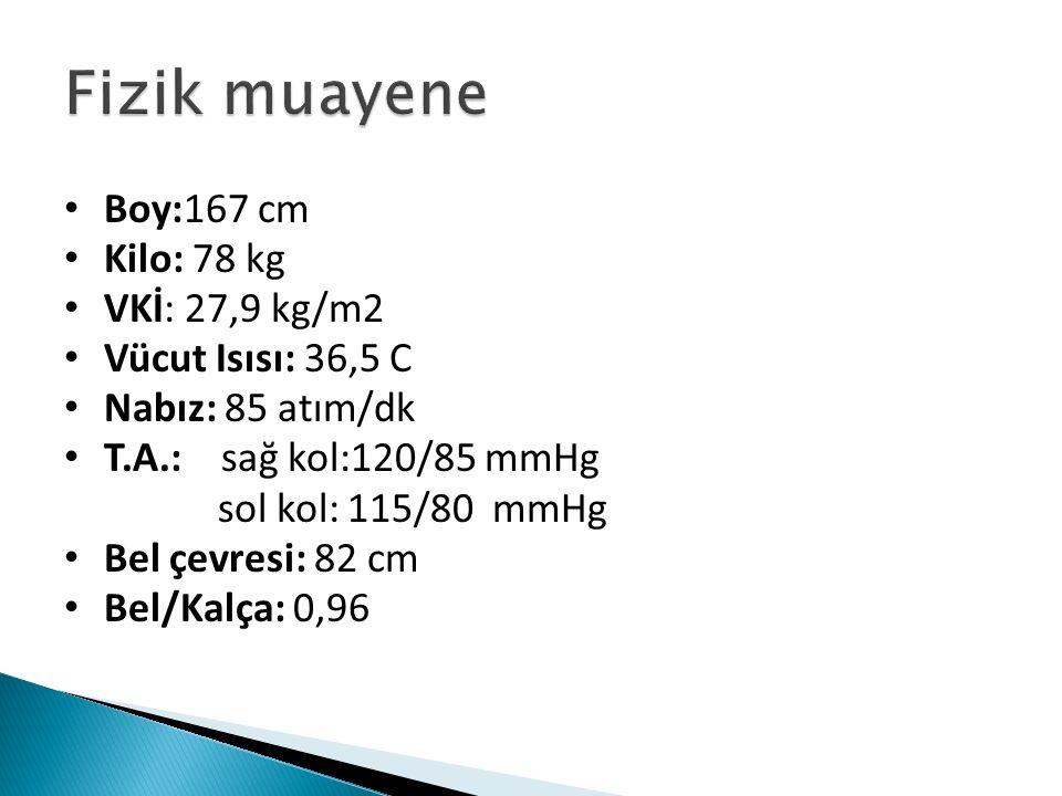 Boy:167 cm Kilo: 78 kg VKİ: 27,9 kg/m2 Vücut Isısı: 36,5 C Nabız: 85 atım/dk T.A.: sağ kol:120/85 mmHg sol kol: 115/80 mmHg Bel çevresi: 82 cm Bel/Kalça: 0,96