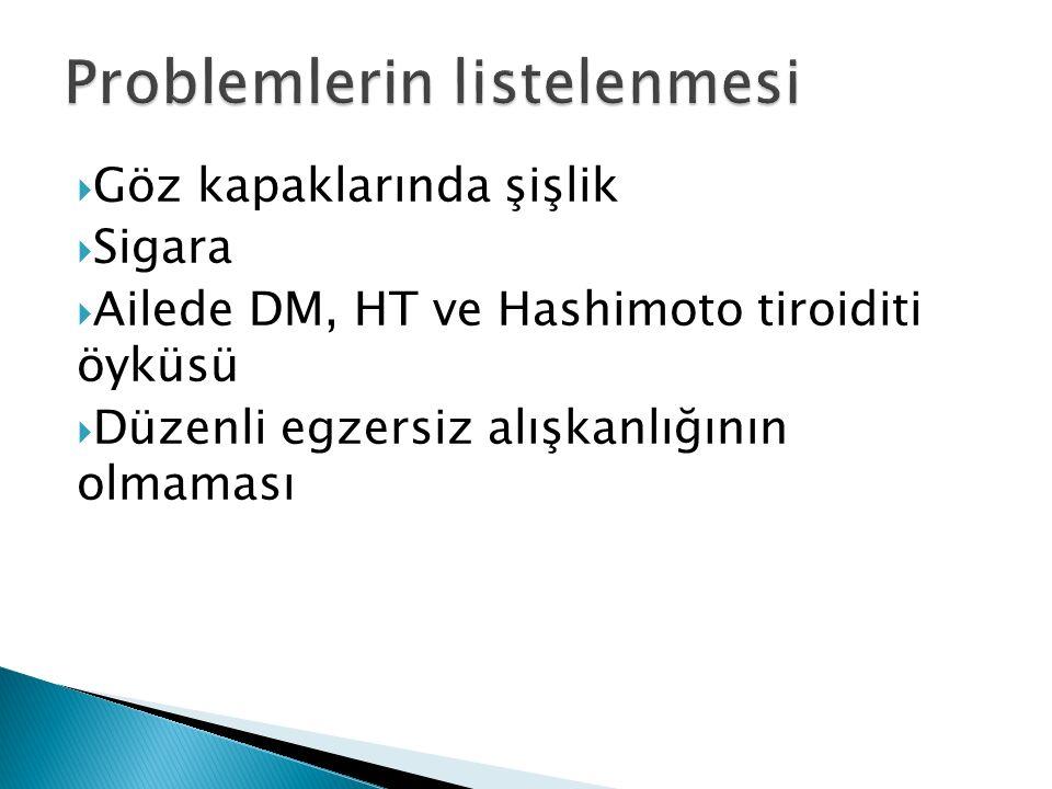  Göz kapaklarında şişlik  Sigara  Ailede DM, HT ve Hashimoto tiroiditi öyküsü  Düzenli egzersiz alışkanlığının olmaması