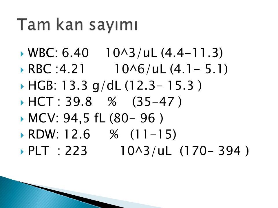  WBC: 6.40 10^3/uL (4.4-11.3)  RBC :4.21 10^6/uL (4.1- 5.1)  HGB: 13.3 g/dL (12.3- 15.3 )  HCT : 39.8 % (35-47 )  MCV: 94,5 fL (80- 96 )  RDW: 12.6 % (11-15)  PLT : 223 10^3/uL (170- 394 )