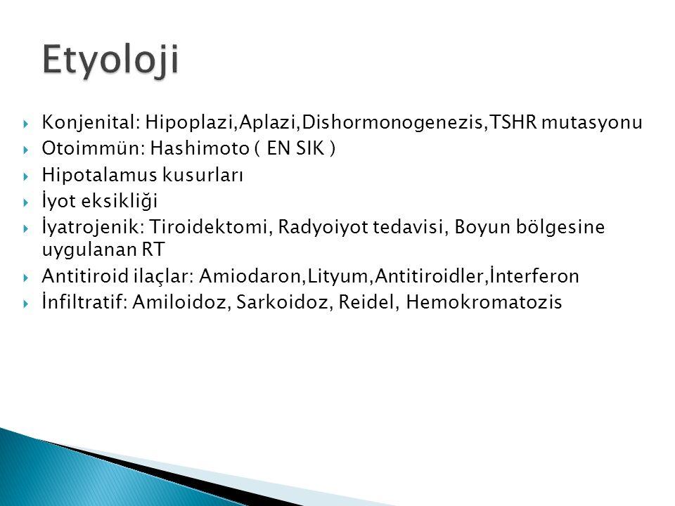  Konjenital: Hipoplazi,Aplazi,Dishormonogenezis,TSHR mutasyonu  Otoimmün: Hashimoto ( EN SIK )  Hipotalamus kusurları  İyot eksikliği  İyatrojenik: Tiroidektomi, Radyoiyot tedavisi, Boyun bölgesine uygulanan RT  Antitiroid ilaçlar: Amiodaron,Lityum,Antitiroidler,İnterferon  İnfiltratif: Amiloidoz, Sarkoidoz, Reidel, Hemokromatozis