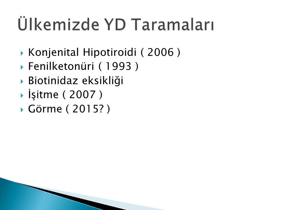  Konjenital Hipotiroidi ( 2006 )  Fenilketonüri ( 1993 )  Biotinidaz eksikliği  İşitme ( 2007 )  Görme ( 2015.