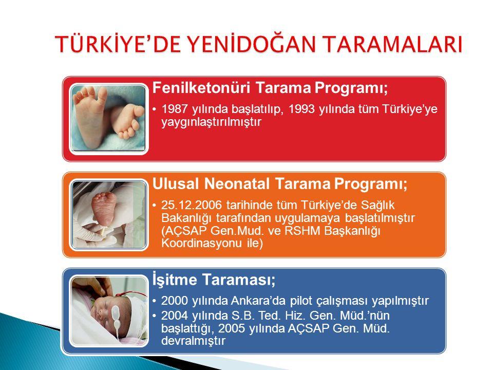 TÜRKİYE'DE YENİDOĞAN TARAMALARI Fenilketonüri Tarama Programı; 1987 yılında başlatılıp, 1993 yılında tüm Türkiye'ye yaygınlaştırılmıştır Ulusal Neonatal Tarama Programı; 25.12.2006 tarihinde tüm Türkiye'de Sağlık Bakanlığı tarafından uygulamaya başlatılmıştır (AÇSAP Gen.Mud.