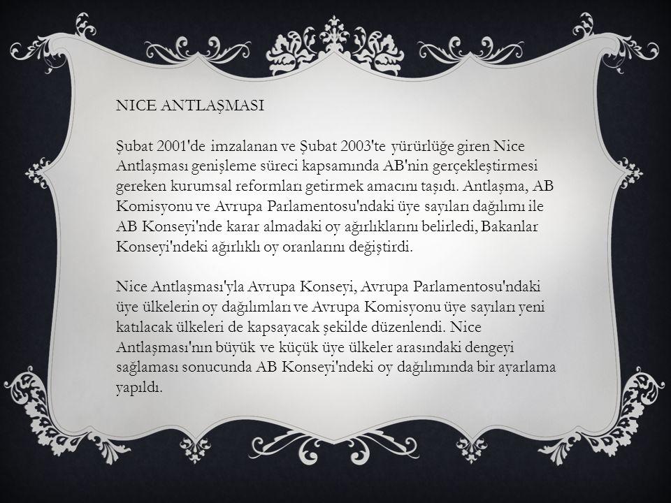NICE ANTLAŞMASI Şubat 2001'de imzalanan ve Şubat 2003'te yürürlüğe giren Nice Antlaşması genişleme süreci kapsamında AB'nin gerçekleştirmesi gereken k