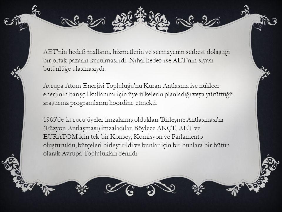 AET'nin hedefi malların, hizmetlerin ve sermayenin serbest dolaştığı bir ortak pazarın kurulması idi. Nihai hedef ise AET'nin siyasi bütünlüğe ulaşmas
