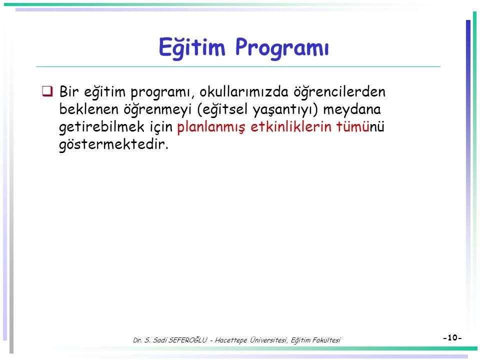 Dr. S. Sadi SEFEROĞLU - Hacettepe Üniversitesi, Eğitim Fakültesi -9- Programın Ögeleri Arasındaki İlişki  Programın boyutlarından birinde olan bir de