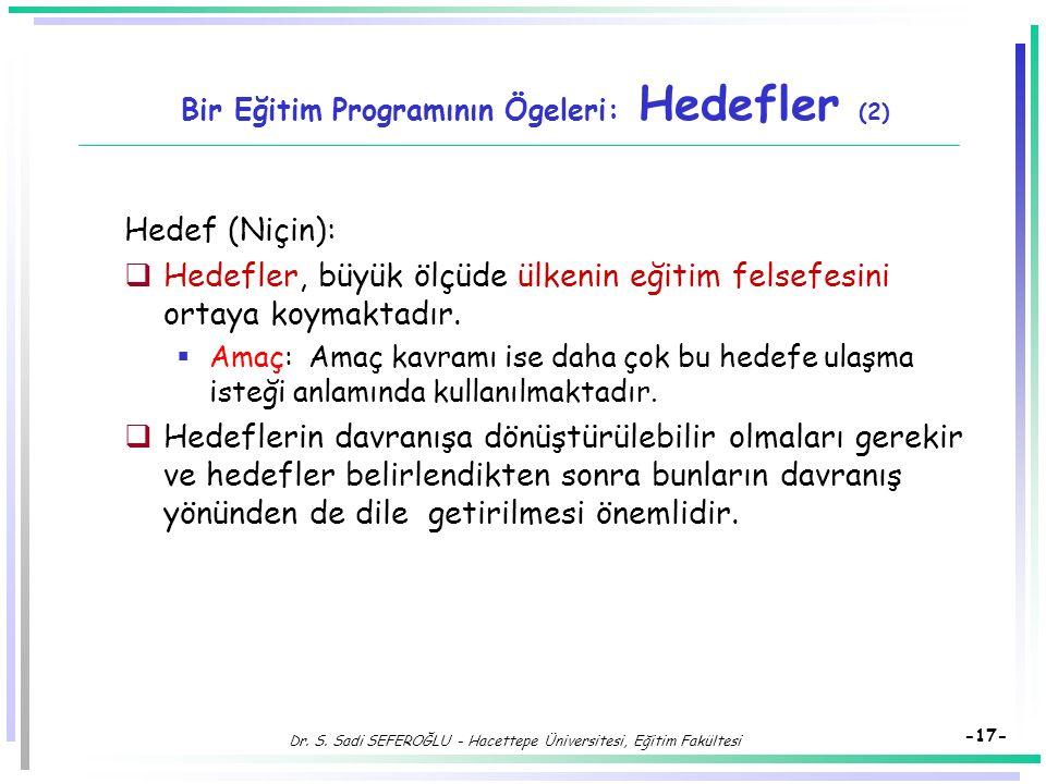 Dr. S. Sadi SEFEROĞLU - Hacettepe Üniversitesi, Eğitim Fakültesi -16- Bir Eğitim Programının Ögeleri: Hedefler Hedef (Niçin):  Hedef kavramı, yetişti