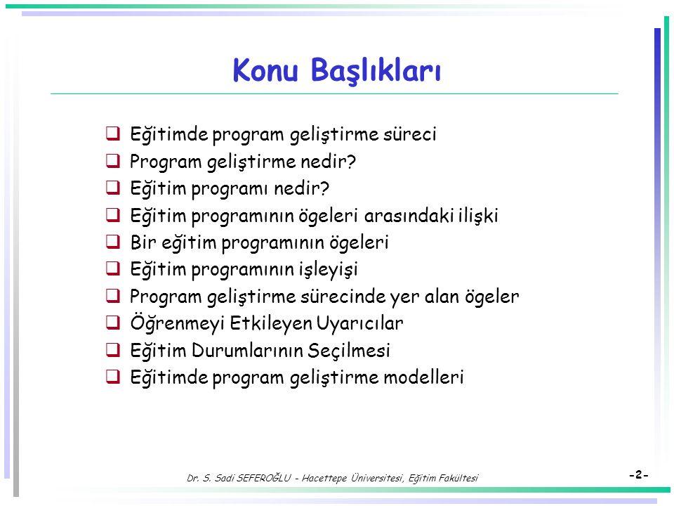 Eğitimde Program Geliştirme Süreci ve Eğitim Durumlarının Düzenlenmesi Dr. Süleyman Sadi SEFEROĞLU Hacettepe Üniversitesi, Eğitim Fakültesi Bilgisayar