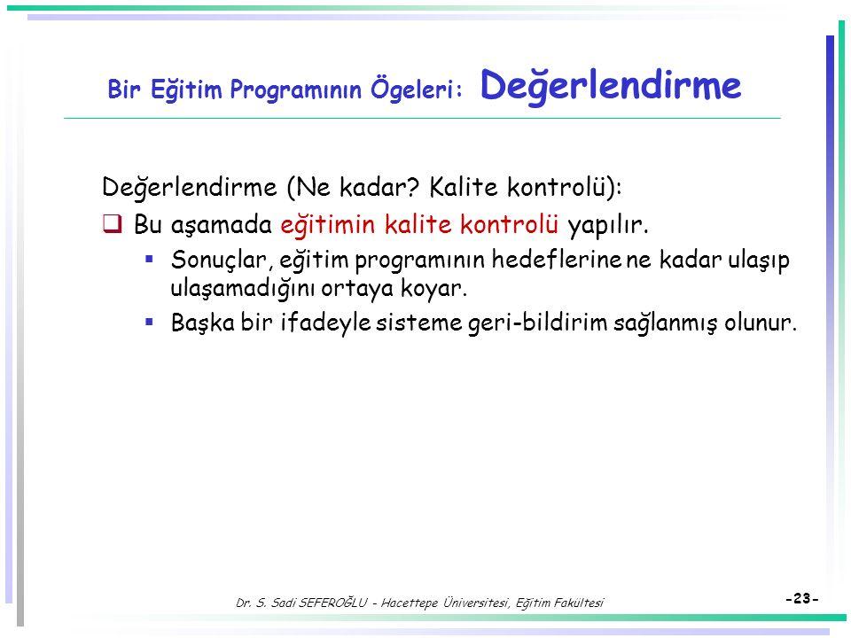 Dr. S. Sadi SEFEROĞLU - Hacettepe Üniversitesi, Eğitim Fakültesi -22- Bir Eğitim Programının Ögeleri: Eğitim Durumu (4) Bir