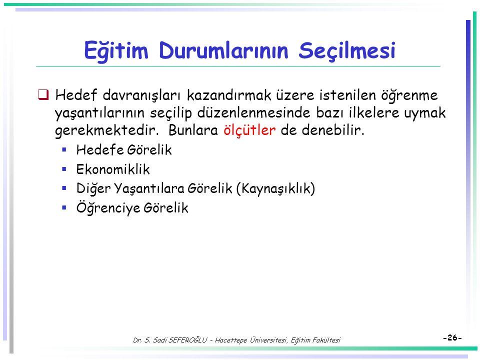 Dr. S. Sadi SEFEROĞLU - Hacettepe Üniversitesi, Eğitim Fakültesi -25- Öğrenmeyi Etkileyen Uyarıcılar  Öğrenmenin olabilmesi için bazı uyarıcılar gere