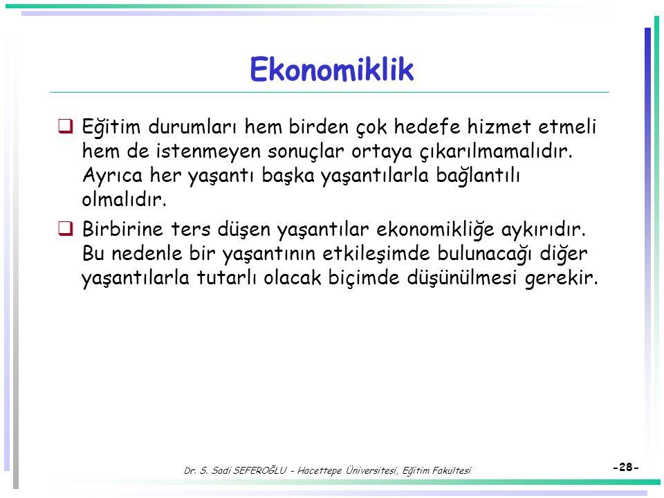 Dr. S. Sadi SEFEROĞLU - Hacettepe Üniversitesi, Eğitim Fakültesi -27- Hedefe Görelik  Eğitim durumları hedefle ilgili olmalıdır. Bir eğitsel yaşantın