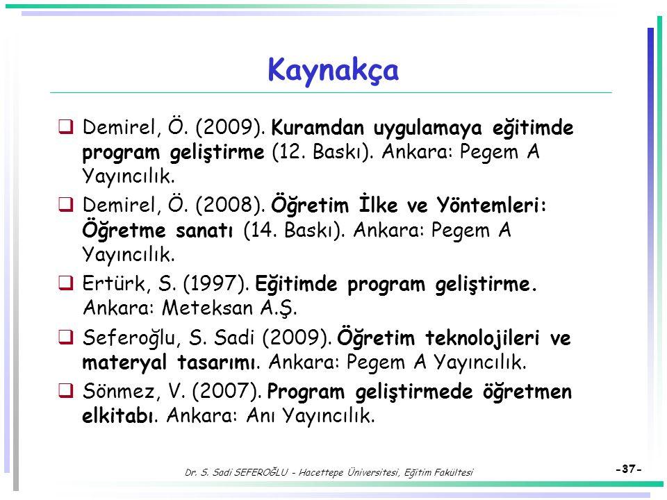 Dr. S. Sadi SEFEROĞLU - Hacettepe Üniversitesi, Eğitim Fakültesi -36- Eğitimde Program Geliştirme Modelleri Program Geliştirme Süreci:  Aday Hedefler