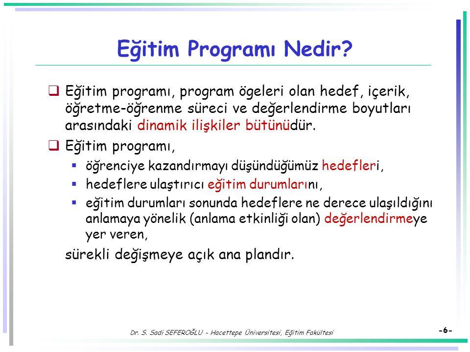 Dr.S. Sadi SEFEROĞLU - Hacettepe Üniversitesi, Eğitim Fakültesi -6- Eğitim Programı Nedir.