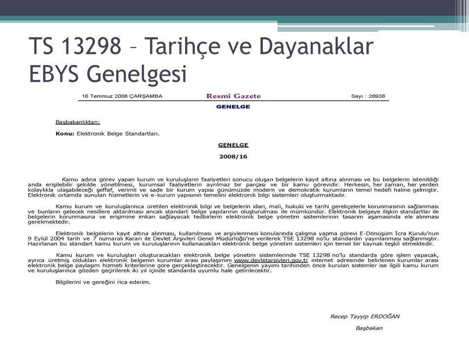 TS 13298 – Tarihçe ve Dayanaklar EBYS Genelgesi