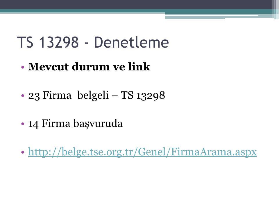 TS 13298 - Denetleme Mevcut durum ve link 23 Firma belgeli – TS 13298 14 Firma başvuruda http://belge.tse.org.tr/Genel/FirmaArama.aspx