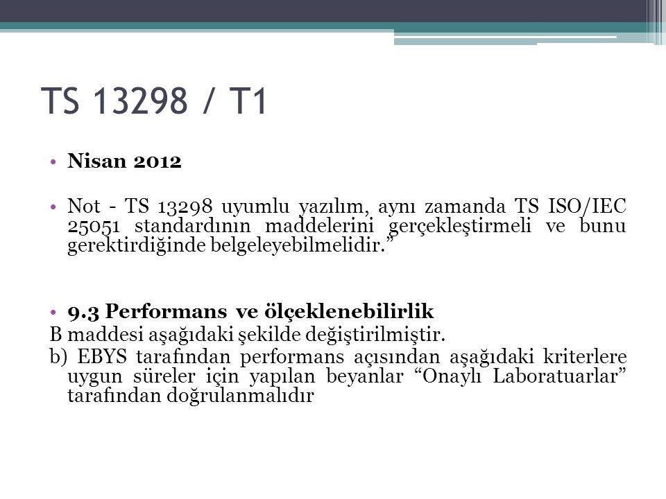 TS 13298 / T1 Nisan 2012 Not - TS 13298 uyumlu yazılım, aynı zamanda TS ISO/IEC 25051 standardının maddelerini gerçekleştirmeli ve bunu gerektirdiğinde belgeleyebilmelidir. 9.3 Performans ve ölçeklenebilirlik B maddesi aşağıdaki şekilde değiştirilmiştir.
