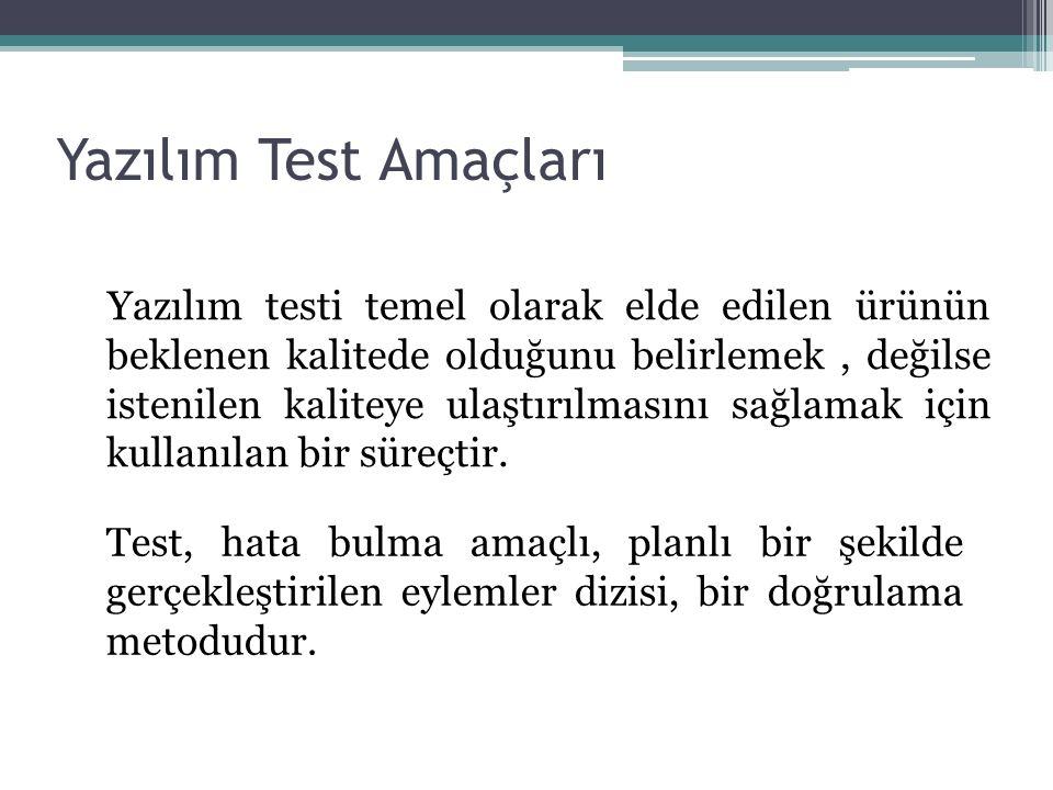 Yazılım Test Amaçları Yazılım testi temel olarak elde edilen ürünün beklenen kalitede olduğunu belirlemek, değilse istenilen kaliteye ulaştırılmasını sağlamak için kullanılan bir süreçtir.