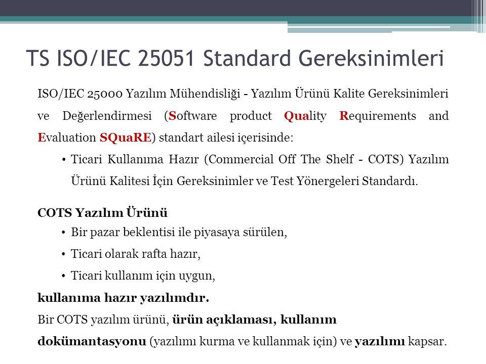 TS ISO/IEC 25051 Standard Gereksinimleri ISO/IEC 25000 Yazılım Mühendisliği - Yazılım Ürünü Kalite Gereksinimleri ve Değerlendirmesi (Software product Quality Requirements and Evaluation SQuaRE) standart ailesi içerisinde: Ticari Kullanıma Hazır (Commercial Off The Shelf - COTS) Yazılım Ürünü Kalitesi İçin Gereksinimler ve Test Yönergeleri Standardı.