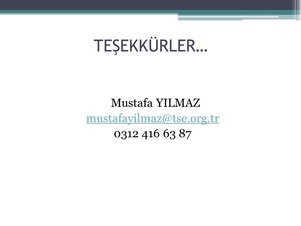 TEŞEKKÜRLER… Mustafa YILMAZ mustafayilmaz@tse.org.tr 0312 416 63 87