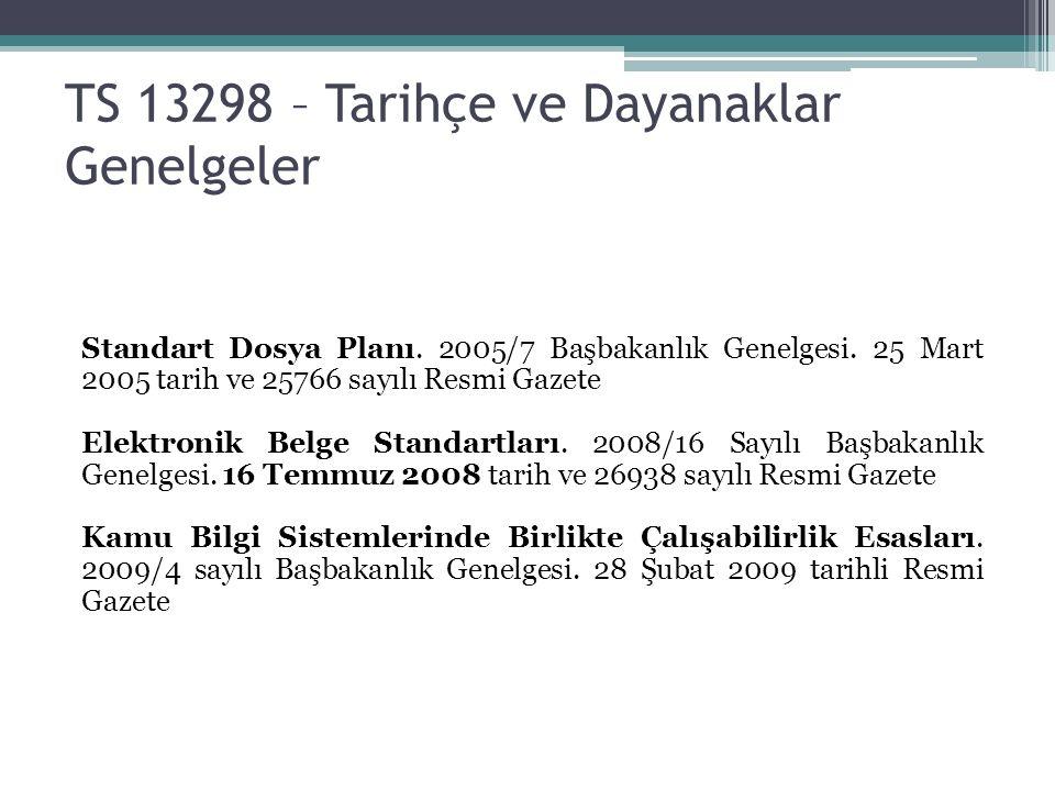 TS 13298 – Tarihçe ve Dayanaklar Genelgeler Standart Dosya Planı.