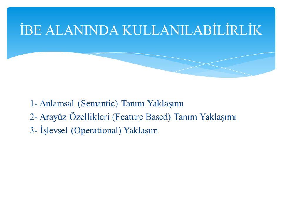 1- Anlamsal (Semantic) Tanım Yaklaşımı 2- Arayüz Özellikleri (Feature Based) Tanım Yaklaşımı 3- İşlevsel (Operational) Yaklaşım İBE ALANINDA KULLANILA