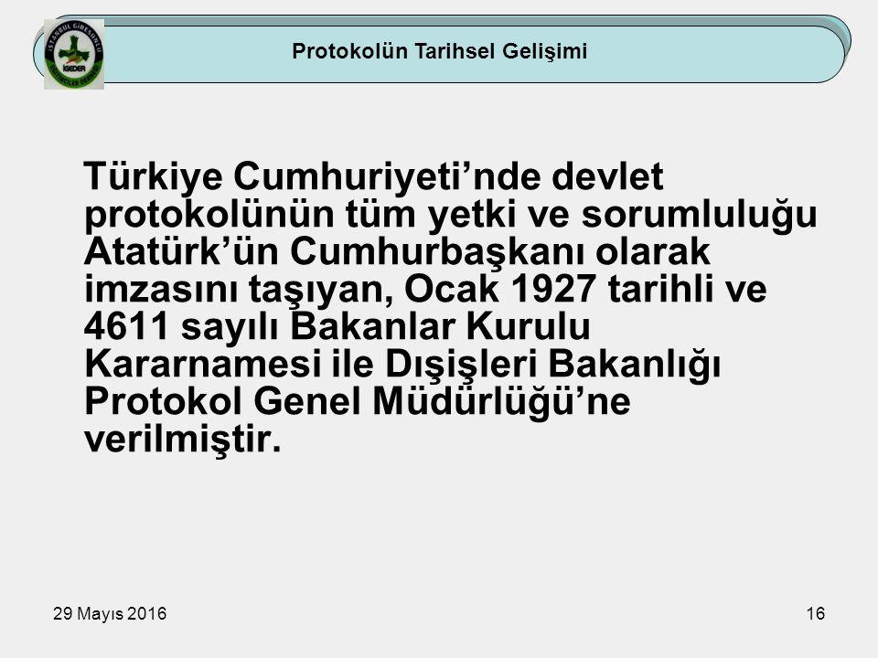 29 Mayıs 201616 Türkiye Cumhuriyeti'nde devlet protokolünün tüm yetki ve sorumluluğu Atatürk'ün Cumhurbaşkanı olarak imzasını taşıyan, Ocak 1927 tarih