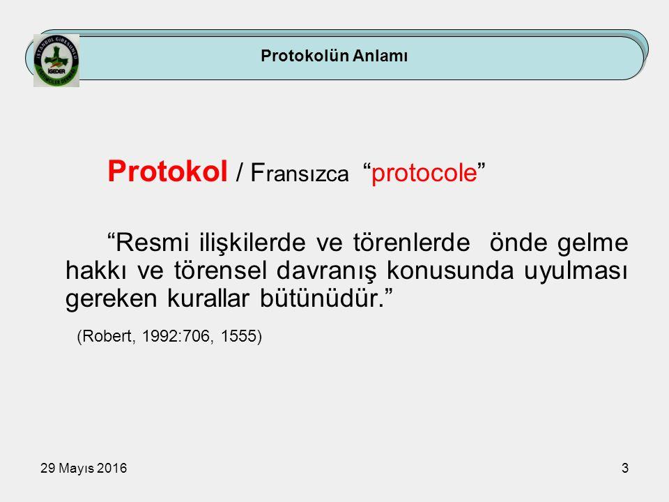 """29 Mayıs 20163 Protokolün Anlamı Protokol / F ransızca """"protocole"""" """"Resmi ilişkilerde ve törenlerde önde gelme hakkı ve törensel davranış konusunda uy"""