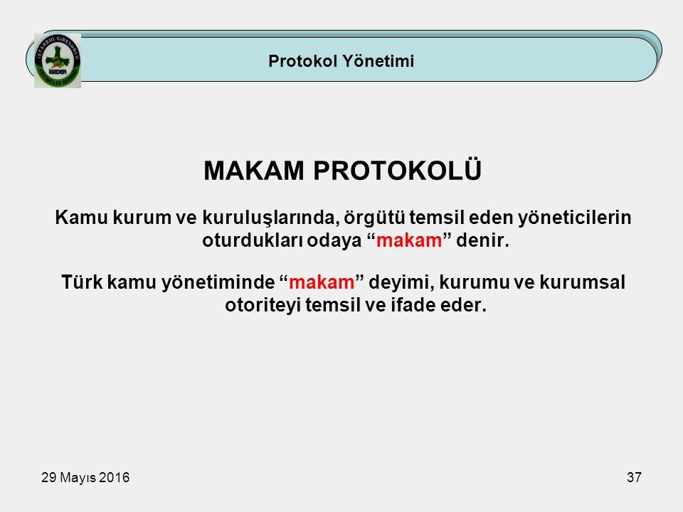 """29 Mayıs 201637 MAKAM PROTOKOLÜ Kamu kurum ve kuruluşlarında, örgütü temsil eden yöneticilerin oturdukları odaya """"makam"""" denir. Türk kamu yönetiminde"""