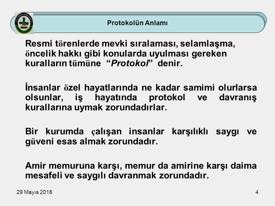29 Mayıs 20164 Protokolün Anlamı Resmi t ö renlerde mevki sıralaması, selamlaşma, ö ncelik hakkı gibi konularda uyulması gereken kuralların t ü m ü ne