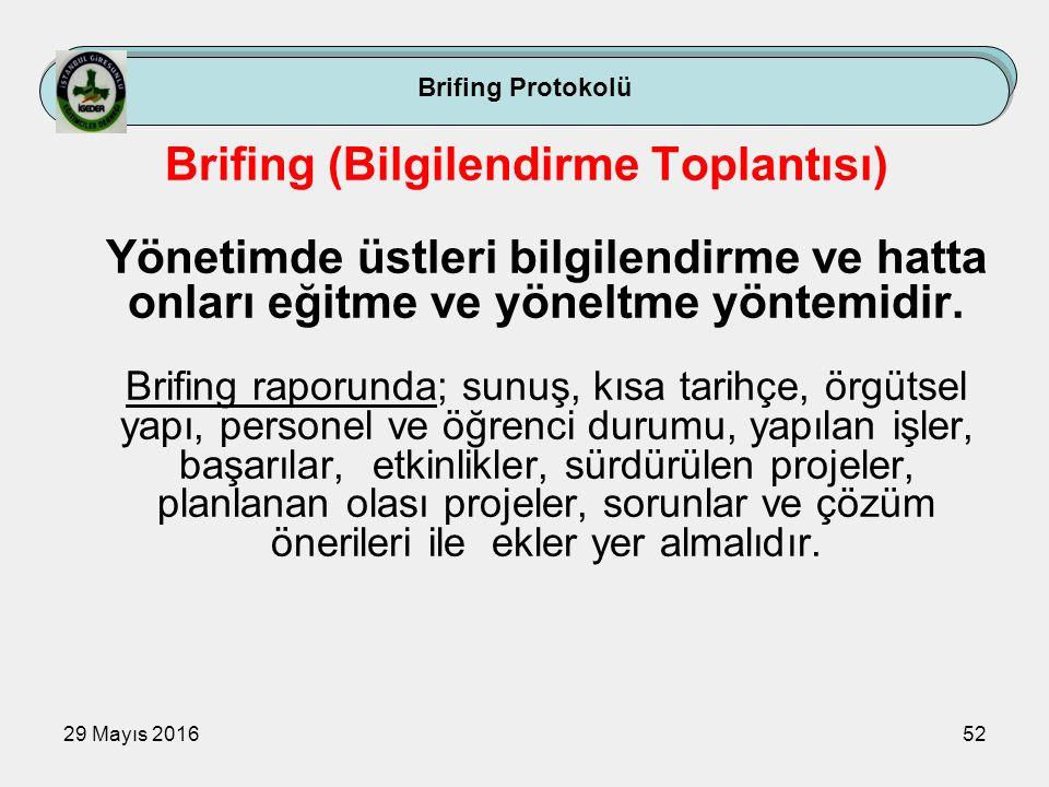 29 Mayıs 201652 Brifing Protokolü Brifing (Bilgilendirme Toplantısı) Yönetimde üstleri bilgilendirme ve hatta onları eğitme ve yöneltme yöntemidir. Br