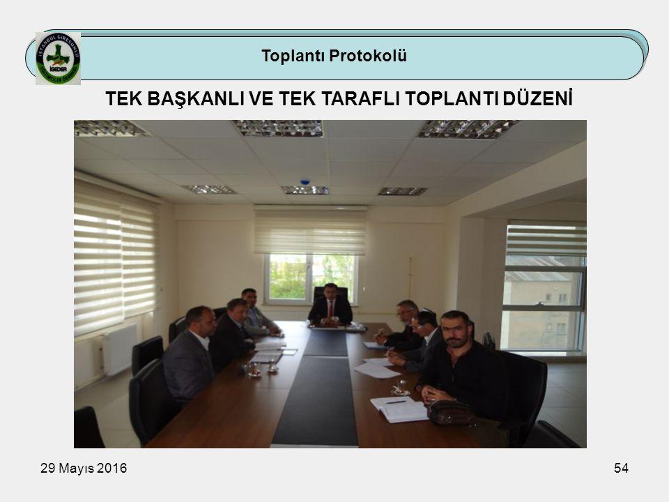29 Mayıs 201654 Toplantı Protokolü TEK BAŞKANLI VE TEK TARAFLI TOPLANTI DÜZENİ