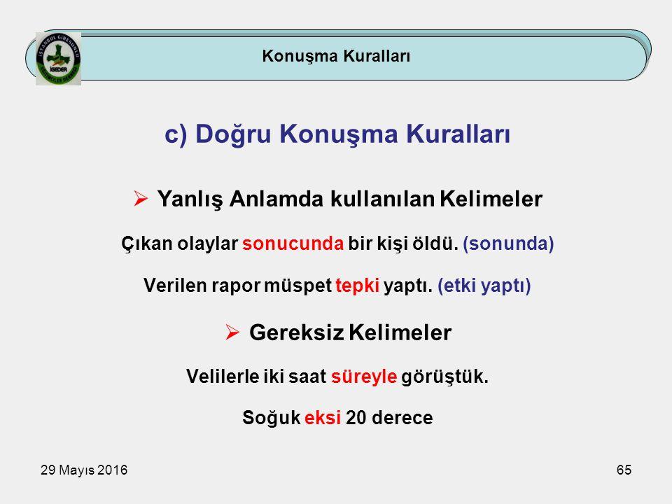 29 Mayıs 201665 Konuşma Kuralları c) Doğru Konuşma Kuralları  Yanlış Anlamda kullanılan Kelimeler Çıkan olaylar sonucunda bir kişi öldü. (sonunda) Ve