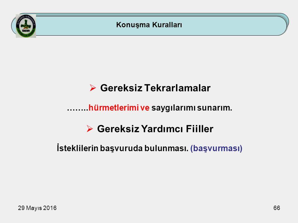 29 Mayıs 201666 Konuşma Kuralları  Gereksiz Tekrarlamalar ……..hürmetlerimi ve saygılarımı sunarım.  Gereksiz Yardımcı Fiiller İsteklilerin başvuruda