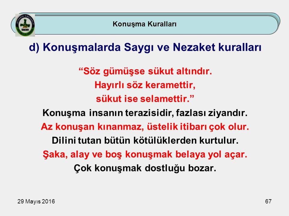 """29 Mayıs 201667 Konuşma Kuralları d) Konuşmalarda Saygı ve Nezaket kuralları """"Söz gümüşse sükut altındır. Hayırlı söz keramettir, sükut ise selamettir"""