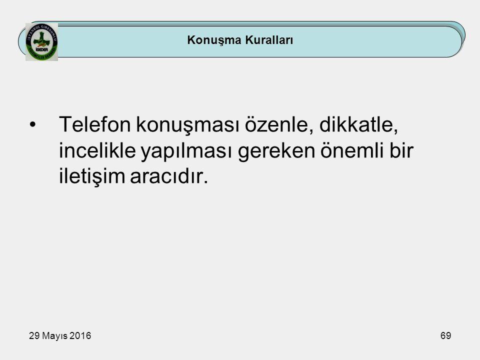 29 Mayıs 201669 Konuşma Kuralları Telefon konuşması özenle, dikkatle, incelikle yapılması gereken önemli bir iletişim aracıdır.