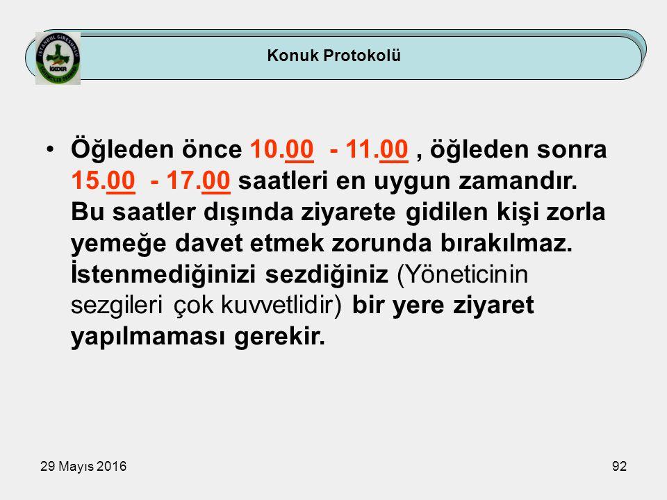 29 Mayıs 201692 Konuk Protokolü Öğleden önce 10.00 - 11.00, öğleden sonra 15.00 - 17.00 saatleri en uygun zamandır. Bu saatler dışında ziyarete gidile