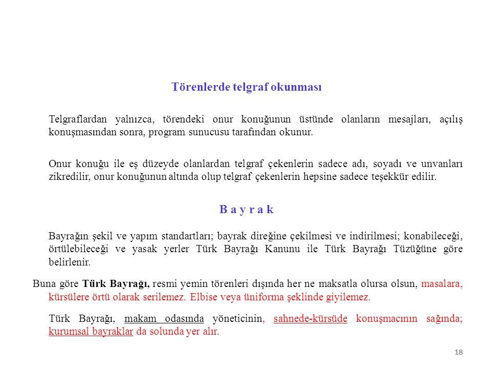 18 Törenlerde telgraf okunması Telgraflardan yalnızca, törendeki onur konuğunun üstünde olanların mesajları, açılış konuşmasından sonra, program sunuc