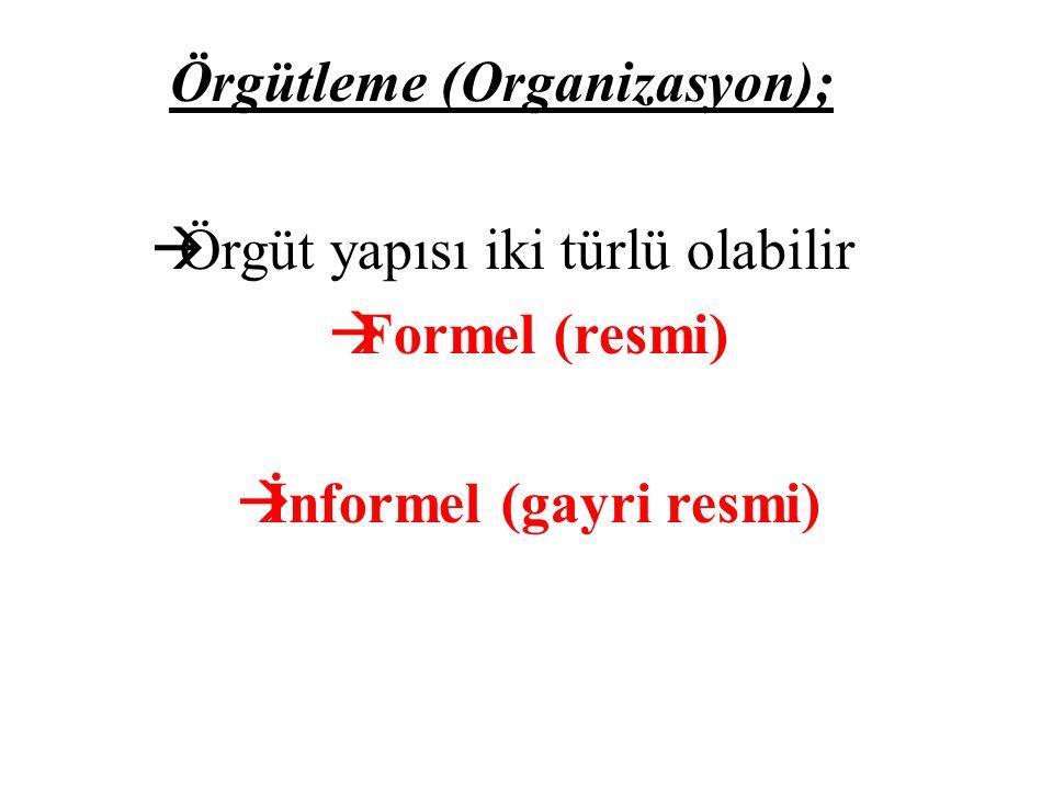 Örgütleme (Organizasyon);  Örgüt yapısı iki türlü olabilir  Formel (resmi)  İnformel (gayri resmi)