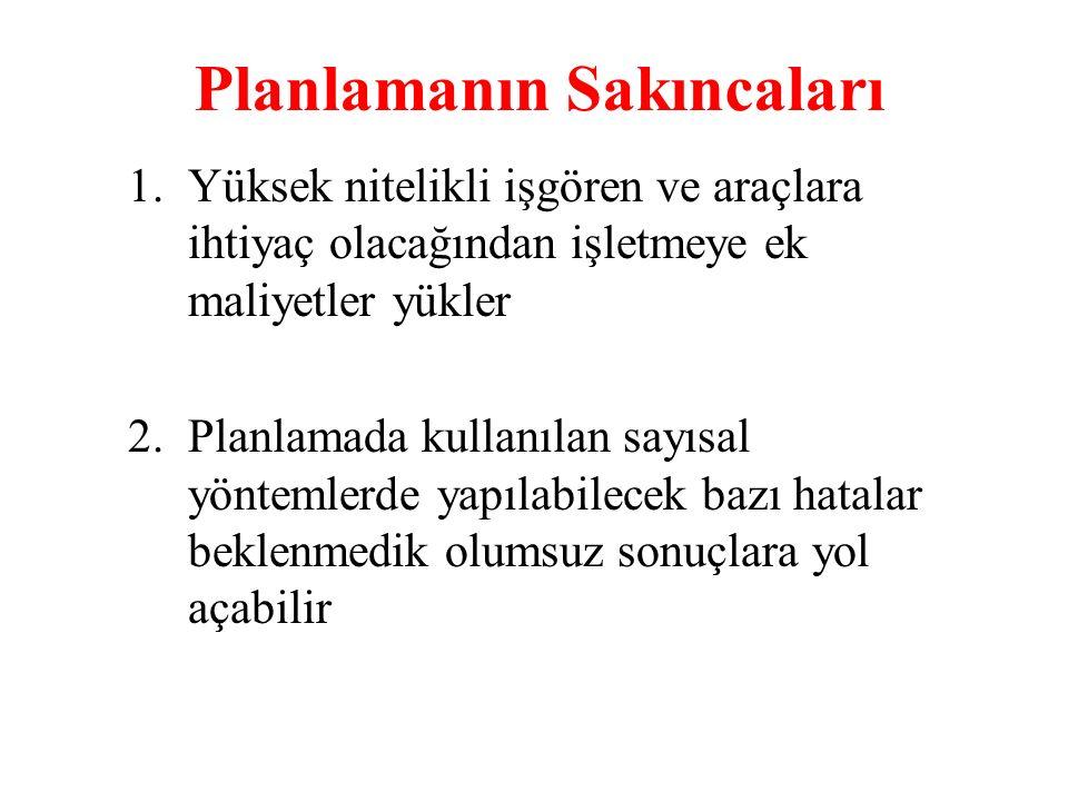 Planlamanın Sakıncaları 3. Planlama geleceğe bakmaktır ilkesine aşırı bağlılık içinde bulunulan durumu gözardı ettirebilir.