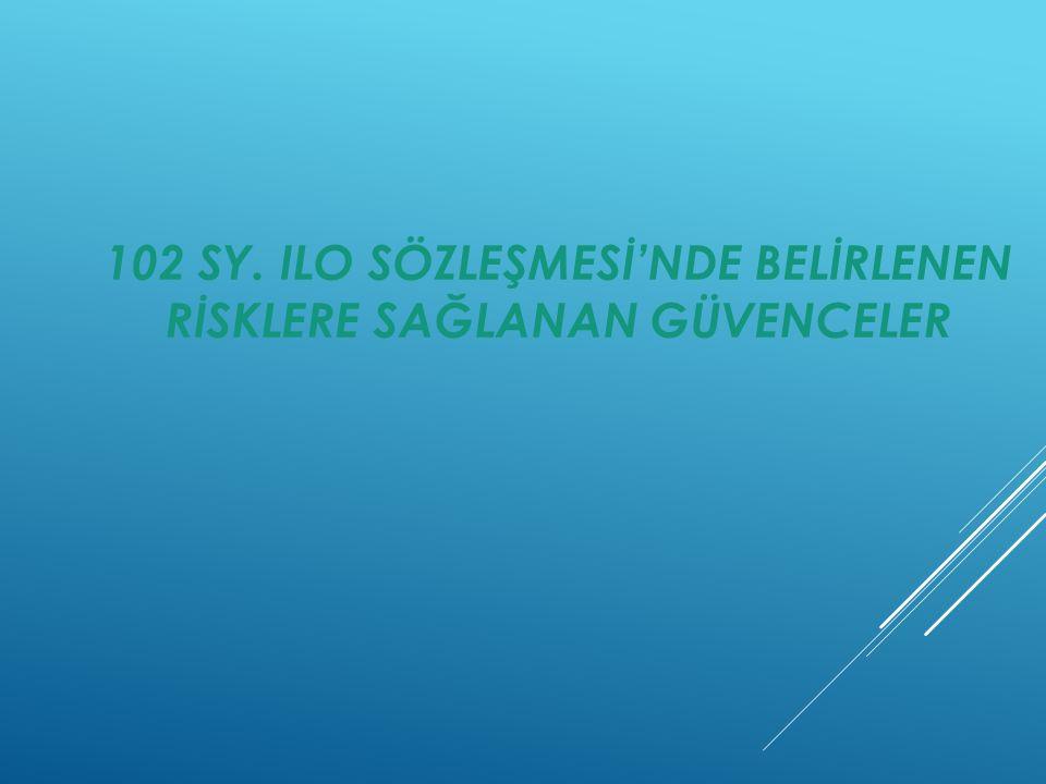 102 SY. ILO SÖZLEŞMESİ'NDE BELİRLENEN RİSKLERE SAĞLANAN GÜVENCELER