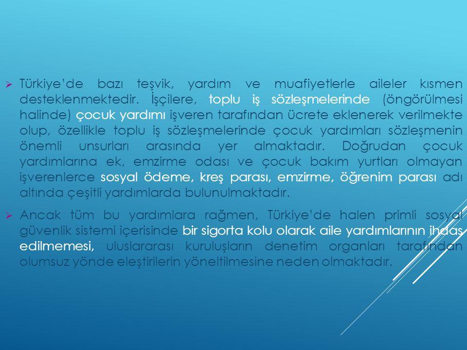  Türkiye'de bazı teşvik, yardım ve muafiyetlerle aileler kısmen desteklenmektedir. İşçilere, toplu iş sözleşmelerinde (öngörülmesi halinde) çocuk yar