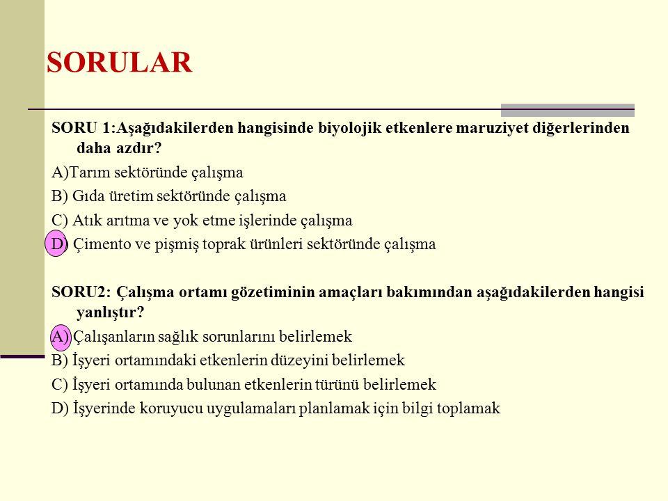 SORULAR SORU 3: Çalışma ortamı gözetimi açısından aşağıdakilerden hangisi yanlıştır.