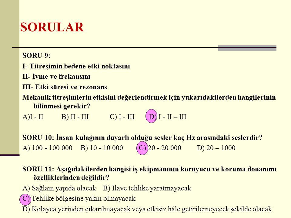 SORULAR SORU 12: Aşağıdakilerden hangisi yanlıştır.
